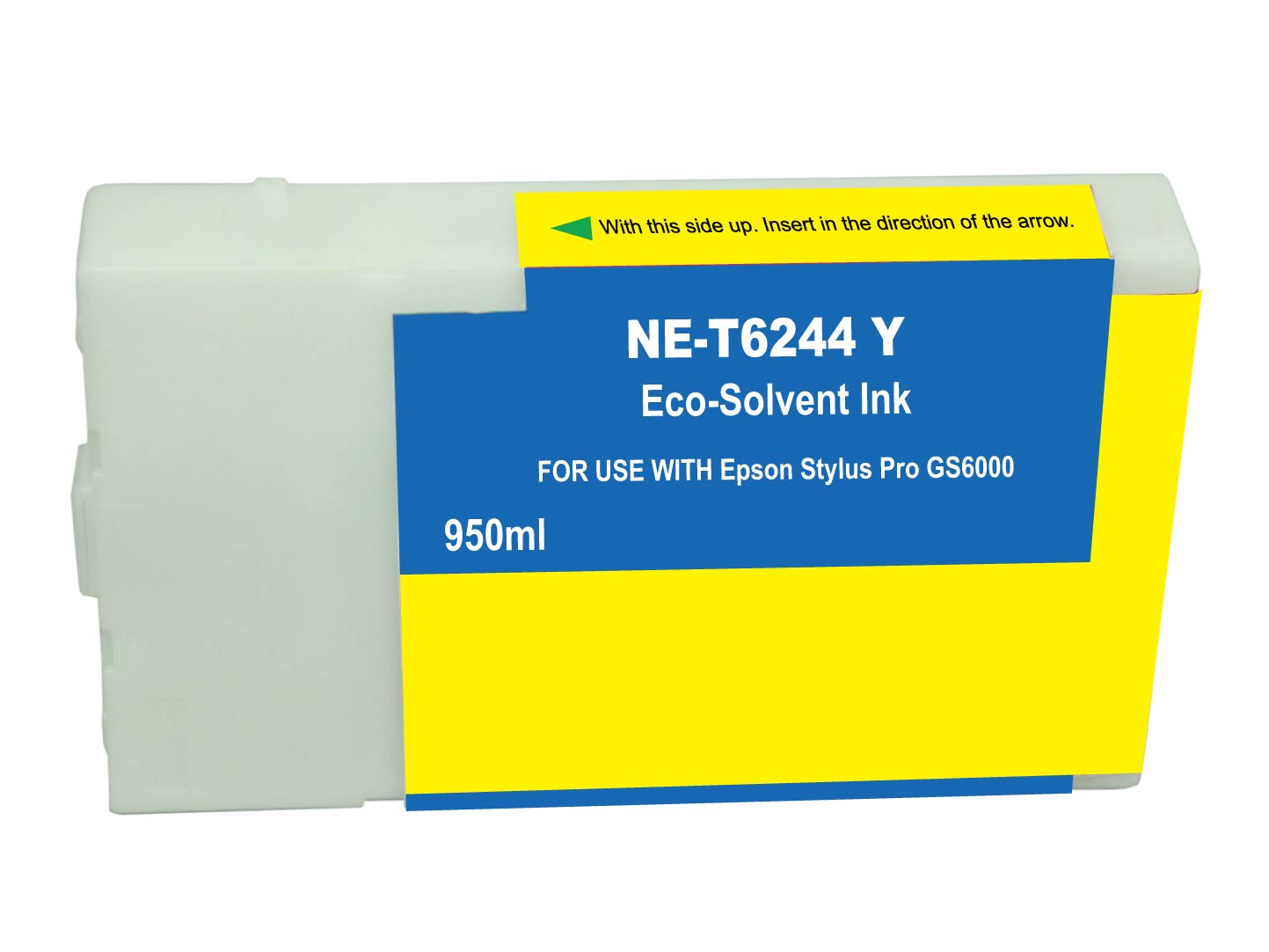 Premium Quality Yellow Solvent Inkjet Cartridge compatible with the Epson T624400