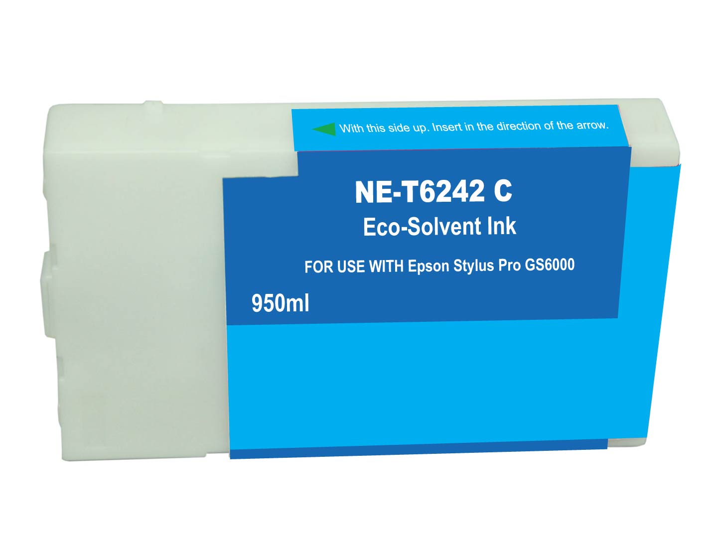 Premium Quality Cyan Solvent Inkjet Cartridge compatible with the Epson T624200