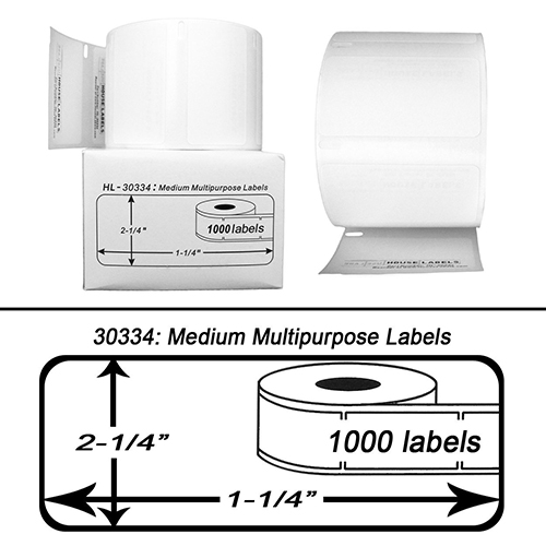 Premium Quality Black on White Medium Multipurpose Labels compatible with Dymo 30334 (220 pcs)